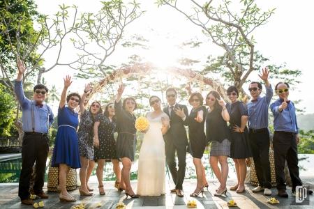 Wedding in Bukit Naga Villa Ubud Bali happy smile love wedding kiss hug together family dinner party photo tour dress and suit sunglasses