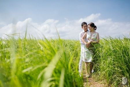 Prewedding in Bali happy love smile happy bride and groom rice fields hug kiss daylight sun prewedding casual